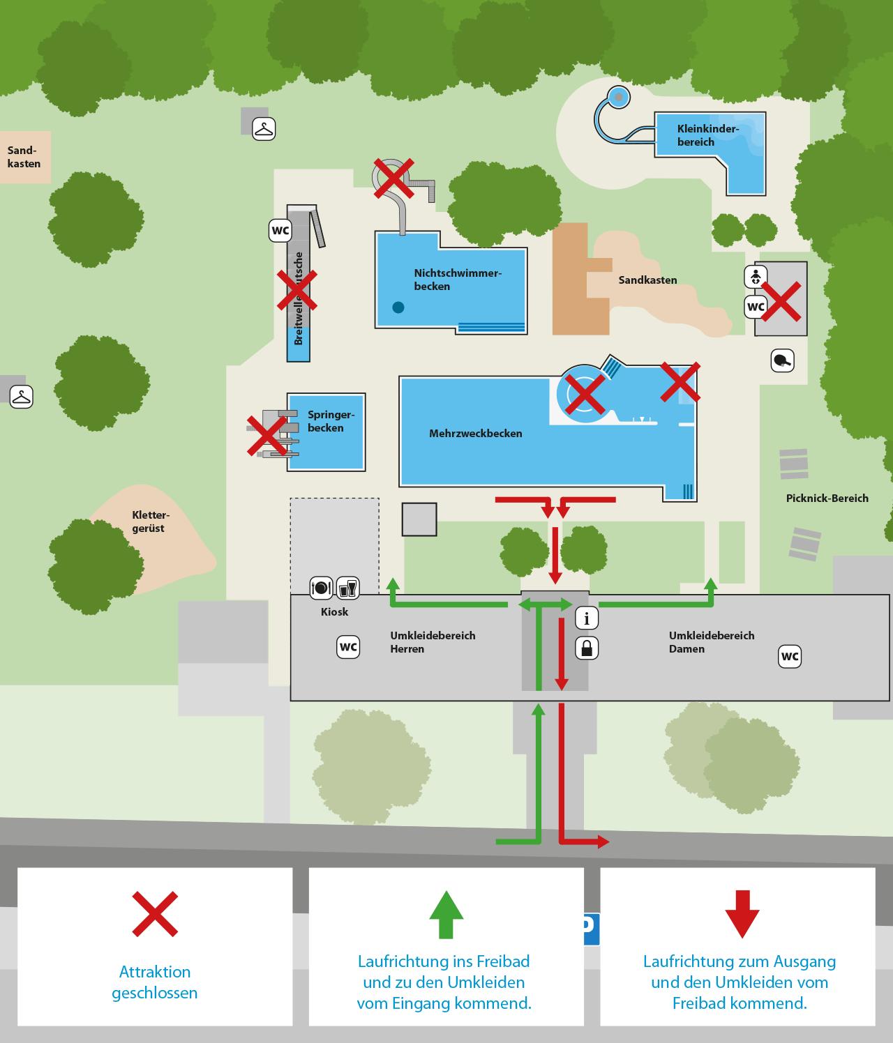 Übersichtsplan des Freibades mit den Einschränkungen durch COVID-19